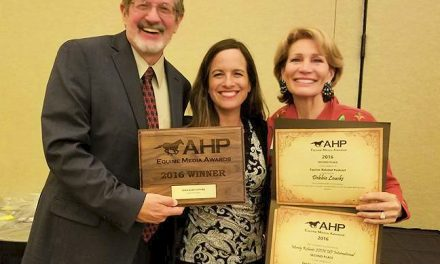 06-19-17 by Omega Alpha Equine – AHP Awards, Reducing Stress, Sugarbush Harlequin Draft,  Equestrian's Bizarre Fears